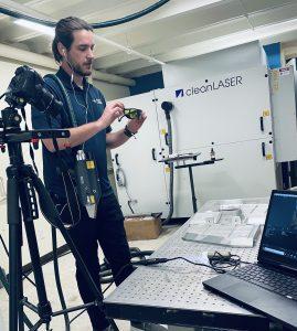 Virtua Lab Demo with safety googles
