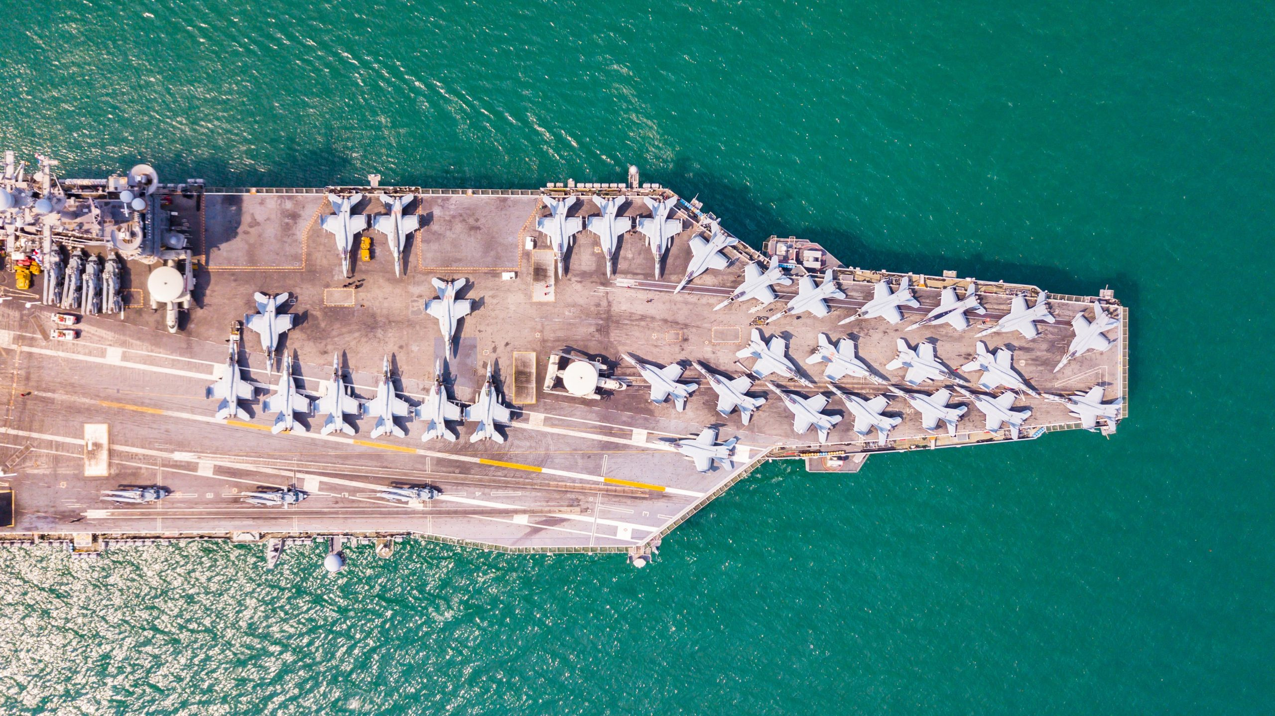 Navy Carrier ship carries planes over the ocean